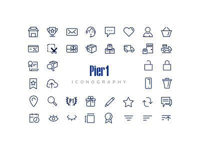 Pier 1  Iconography brand ui ecommerce type set mark illustration idenity icons icon
