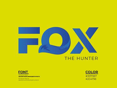 Fox Typography hunt hunterlogo fox foxlogo animal wildlife wildlogo logo illustration design logo design creative branding minmalist graphic design typography minimal brand identity logotype