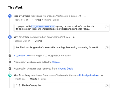 Activity Feed web app collaboration notes comments tool software ux timeline feed ui product crm