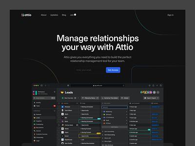 Homepage Hero saas marketing site website design hero image homepage website relationship collaboration dark mode dark ui crm