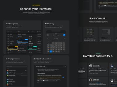 Homepage Layout crm product illustration ui dark mode dark website design marketing site website