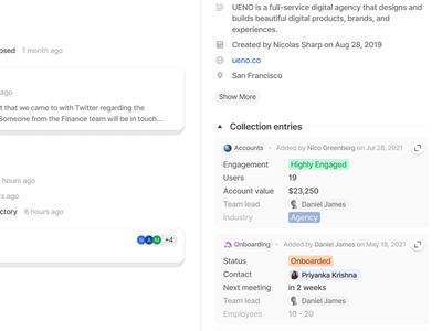 Contact Collection Entries collaboration ux ui product crm
