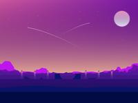 Desert Sunset over the Park  stars glow shot skatepark golden purple illustrator sunset illustration adobe rebound