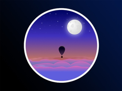 Balloon in the Sky  stars moon night landscape photoshop sky balloon sunset vector affinity design illustration