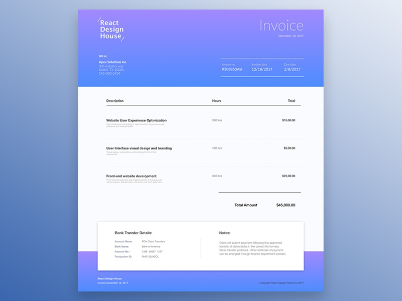 Day 046 - Invoice challenge sketch blue print adobe affinitydesigner design web invoice dailyui
