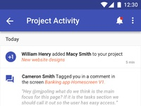 Project activity feed