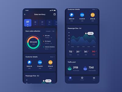 Dark theme design for data sets vector chart web app icon design