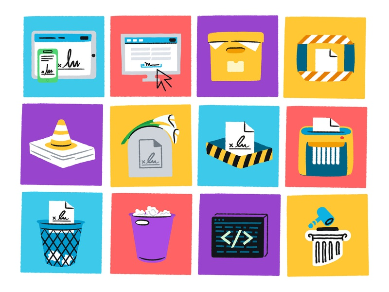 Illustration Tiles for All Things Documents warning trash bin archive document fax printer office hellosign illustration
