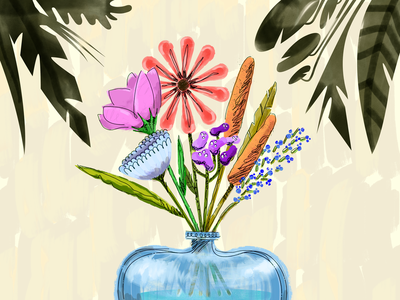 Thinking Of You greeting card vase leaves leaf foliage boquet plants flora flowers illustration