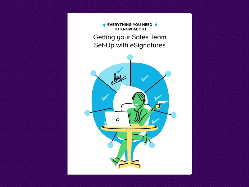 eSignature for Sales Teams eBook cover vector ui design office hellosign type illustration