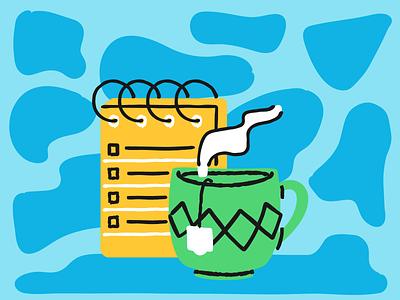 Checklist and Tea texture illustration cup tea notebook list memo pad checklist