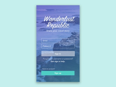 Travel App: Login Screen Concept