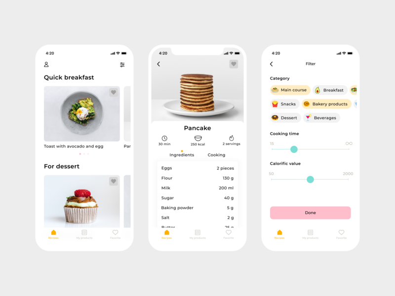 So Yummy App clean food app cook cooking recipe app design ui ux minimal animation