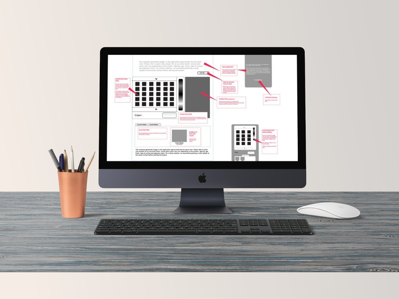 Palette Creator wireframing brainstorming user experience design marketing website