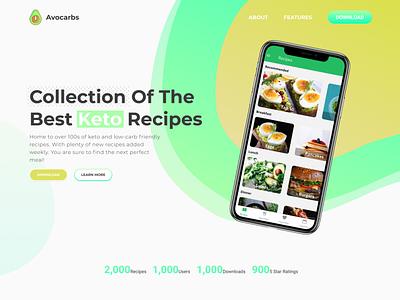 Avocarbs App Landing Page app web ui design