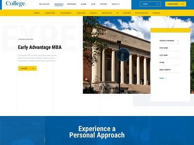 University Programs Page portfolio desktop web ui design