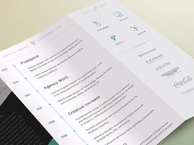 2014 CV Resume TriFold resume cv trifold brochure personal portfolio print work history