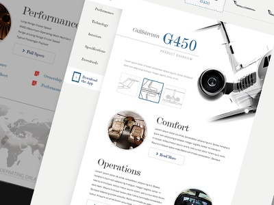 Gulfstream Reinvented - Exercise gulfstream redesign product page layout web responsive design website ui branding aviation concept