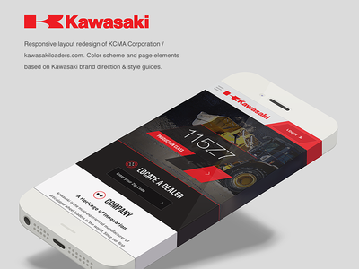 Kawasaki Wheel Loaders Redesign wheel loaders responsive web design redesign kawasaki heavy machinery mobile branding