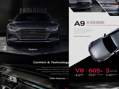 Audi Prologue / A9 Concept specs car visual design branding mockup concept audi design responsive layout web web design