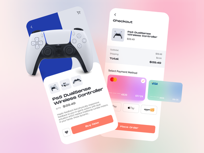 Product and checkout payment shopping ux design app daily ui mobile ui minimal app design ps5 play creditcard credit card checkout purchase ui design uiux ui