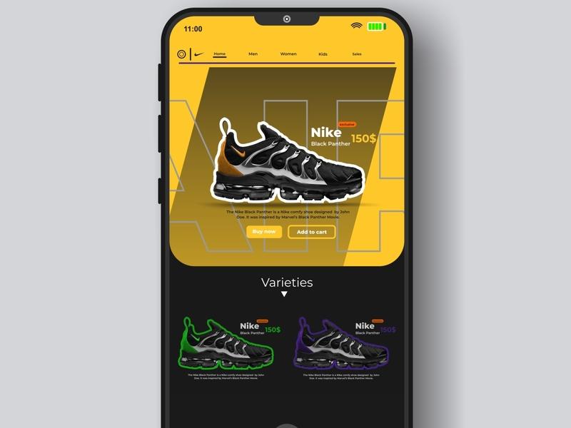 Mobile UX/UI Design an online shoe Kiosk selling Nike Airmax branding vector design web ux app ui minimal