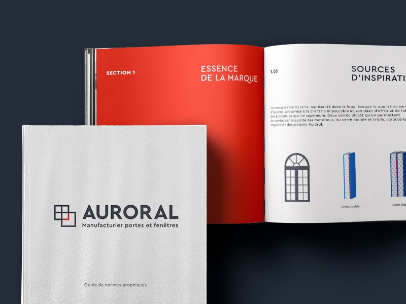 Auroral brand guide rebranding door window laura lee moreau