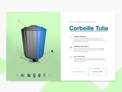 Product 3D View - Recycling industry  cta description tooltip 3d custom trash can container recycle recycling