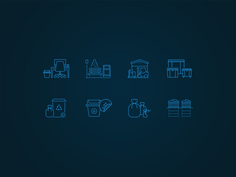 Recycle industry custom icons laura lee moreau web design ux ui