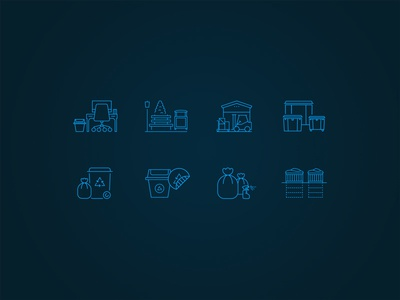 Custom Icons for the recycling industry icons custom trash can container recycle recycling