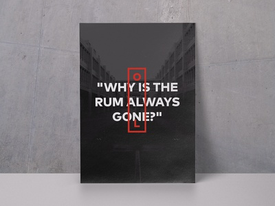Quote poster for the office studio creative black and white red minimalism concrete mockup quote poster