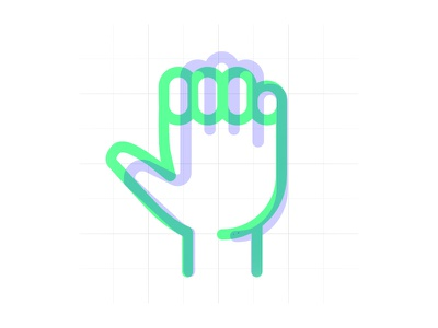 Icon animation in the making green lavender purple animation movement hand line thick transparency neon vibrant icons
