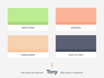 Color palette for Tony, bike share in Eastborne city bike vocal recognition app geolocation brand cold grey peach green apple bright bike rental bike share