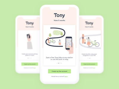 Tony - Welcoming Walkthrough city bike vocal recognition app geolocation brand cold grey peach green apple bright bike rental bike share
