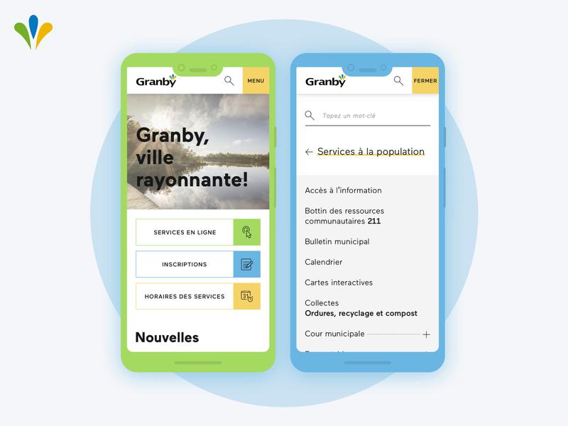 City of Granby - Mobile screens canada city website bright colors mobile ui responsive design
