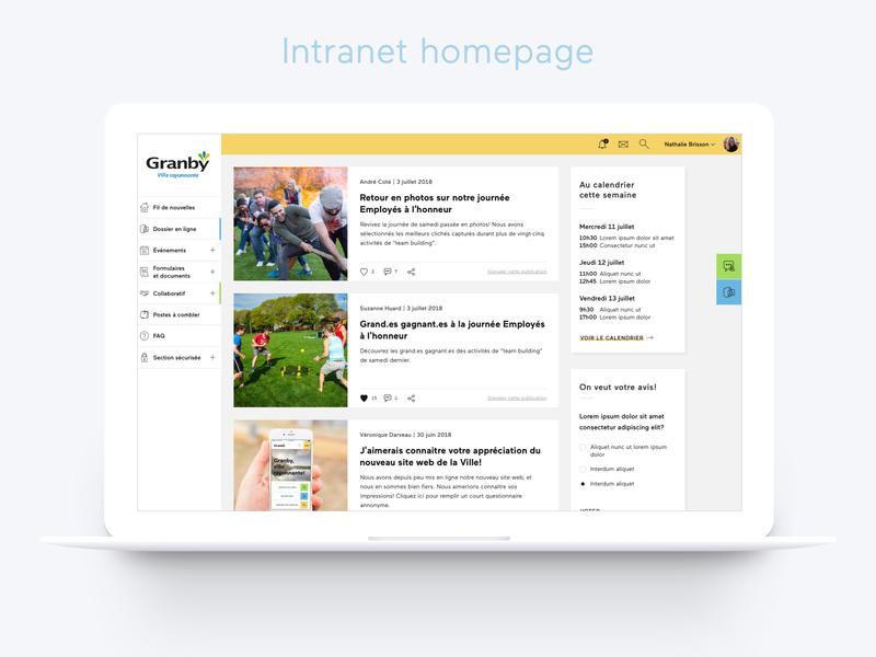 City of Granby - Intranet homepage bright colors city portal city website ui design responsive web design intranet