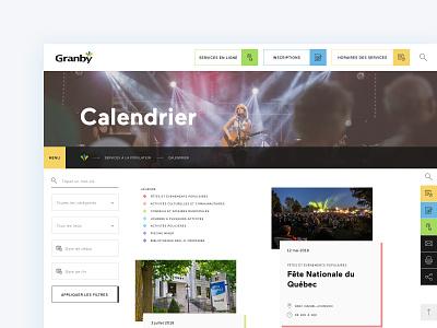 City of Granby - Events calendar mobile ui city portal city website bright colors ui design responsive design