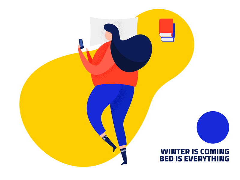 Bed is everything in the winter blue yellow vector illustration design orange illustrator