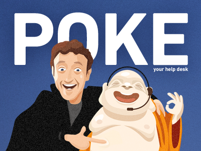 Poke your helpdesk zendesk zuckerberg buddha help desk poke blue illustration typography noise redhead