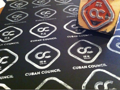 Cuban logo stamps rubber stamp cuban council identity logo white ink