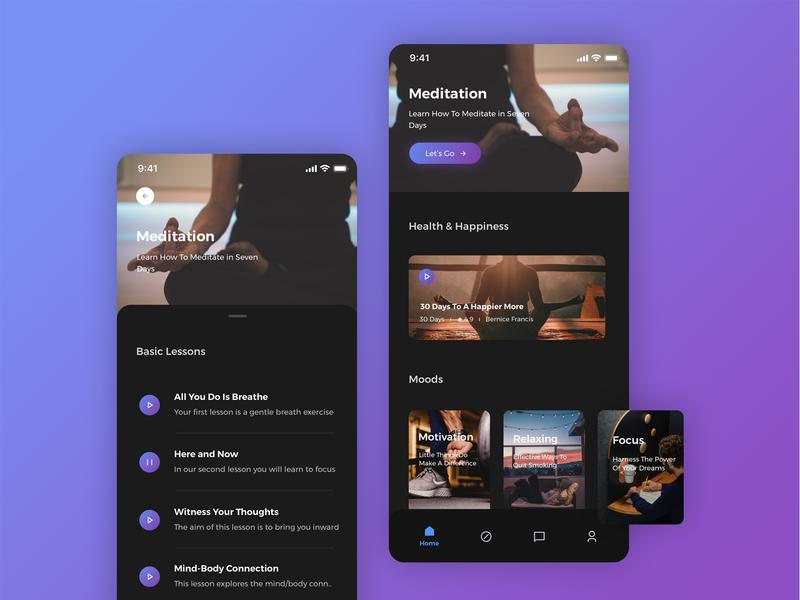 Yoga App Design design minimal yoga app uiux dark ui dark ux ui mobile app design app yoga joga