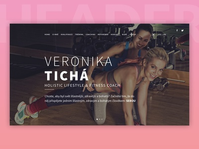 Veronika Tichá Website hero lifestyle coach fitness homepage webdesign website header