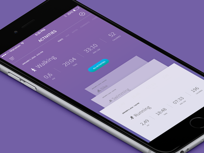 Sport Tracking App - Activities colored iphone ios purple screen app tracking sport activity activities