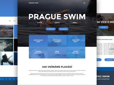 PRG SWIM prague coloured design sport swimming website webdesign