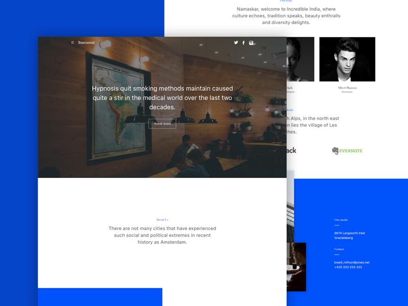 Basement Website Freebie corporate studio blue coloured minimal design freebie webdesign website