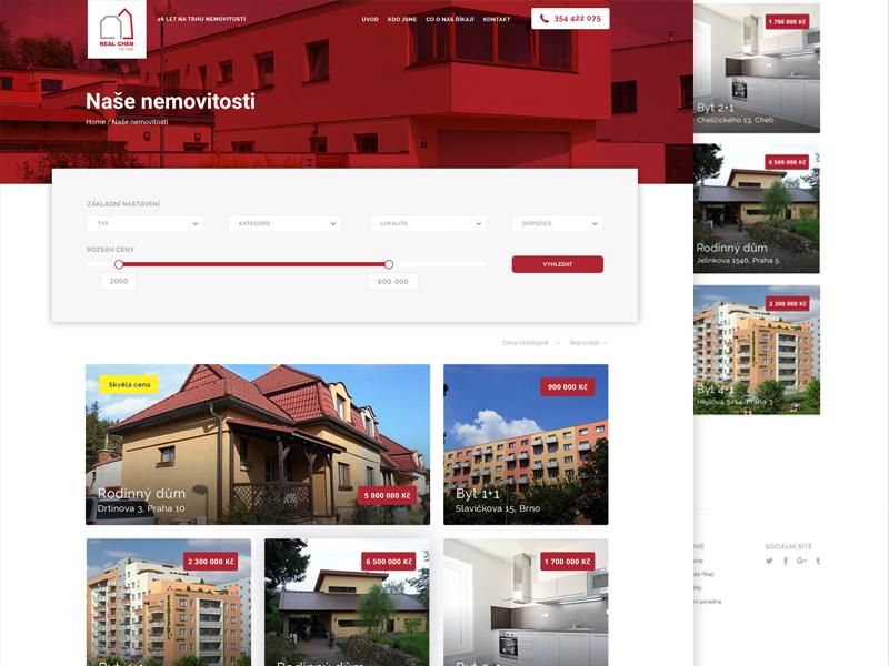 Real Estate  website webdesign page filter search realestate estate real