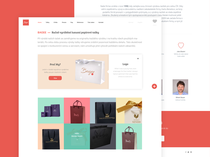 Bagee webdesign website clean minimal design paper bags bagee