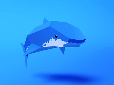 Shark shark lowpoly sea ocean blue