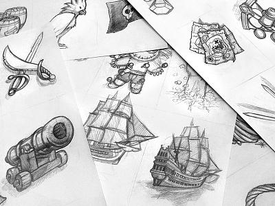 Pirates card game arm ship sketch card game pirates