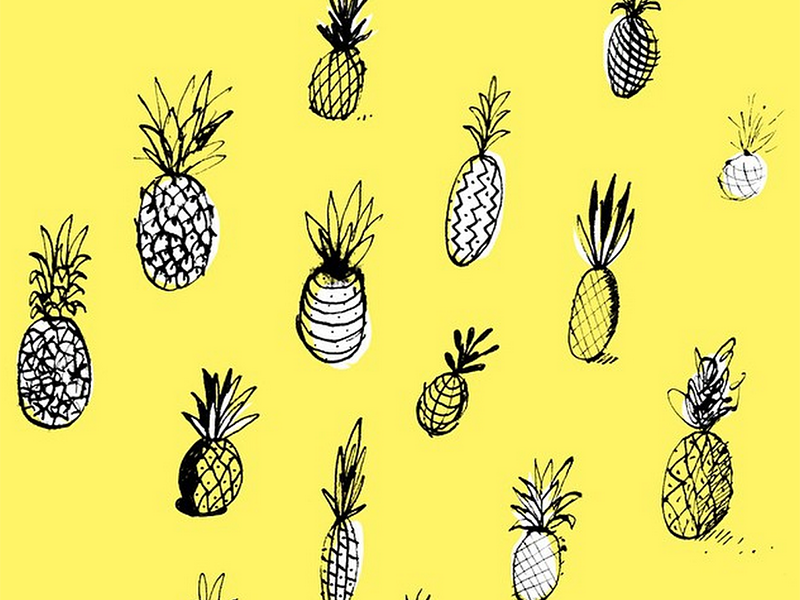 Pineapples! pineapple yellow illustration drawing